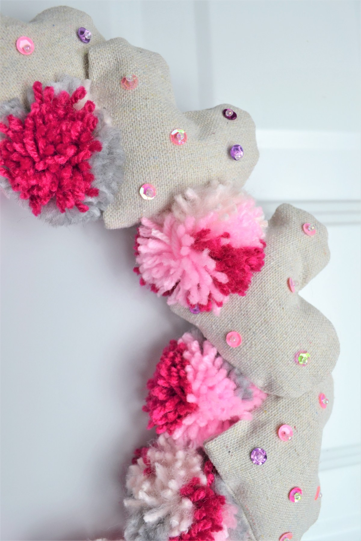 Valentine's Day wreath - made with pompoms