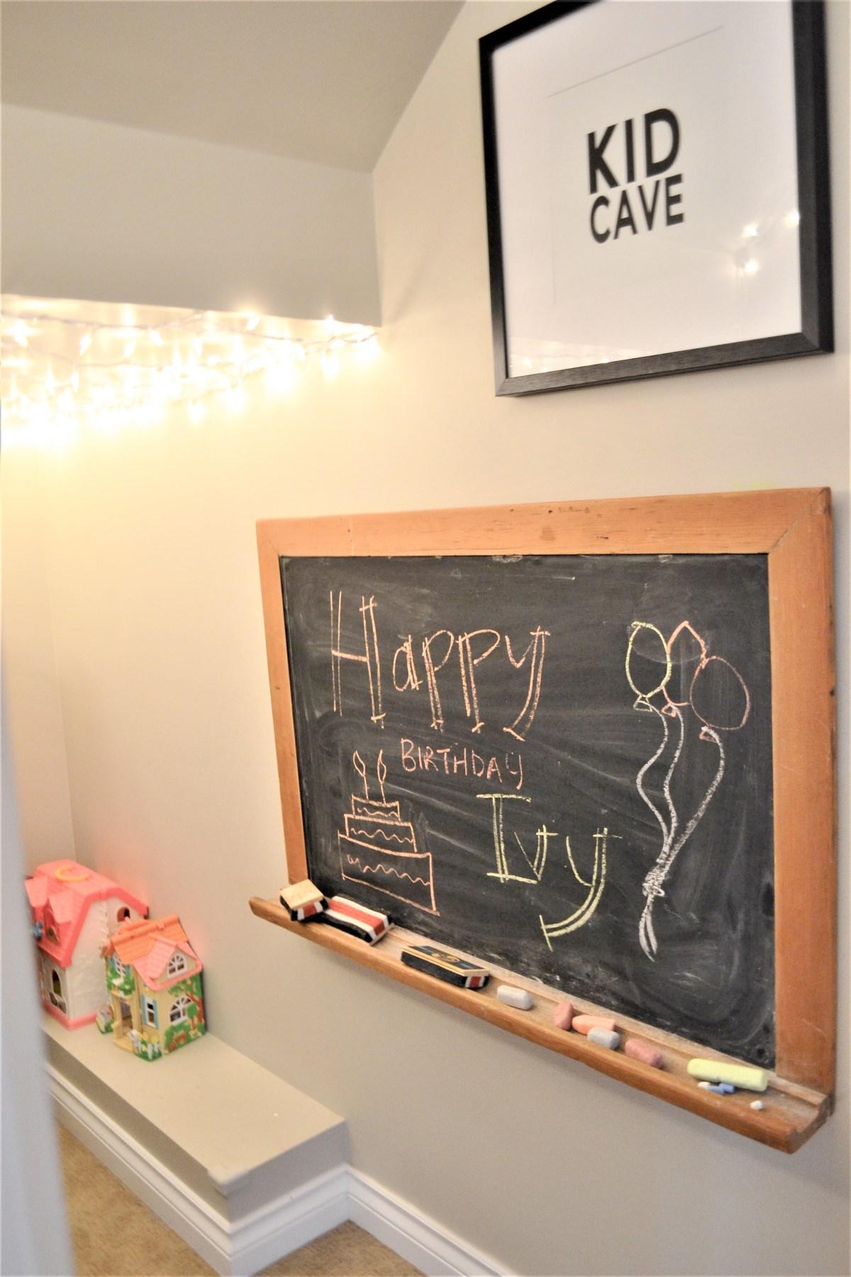 Baby Doll Party Theme - happy birthday chalk board