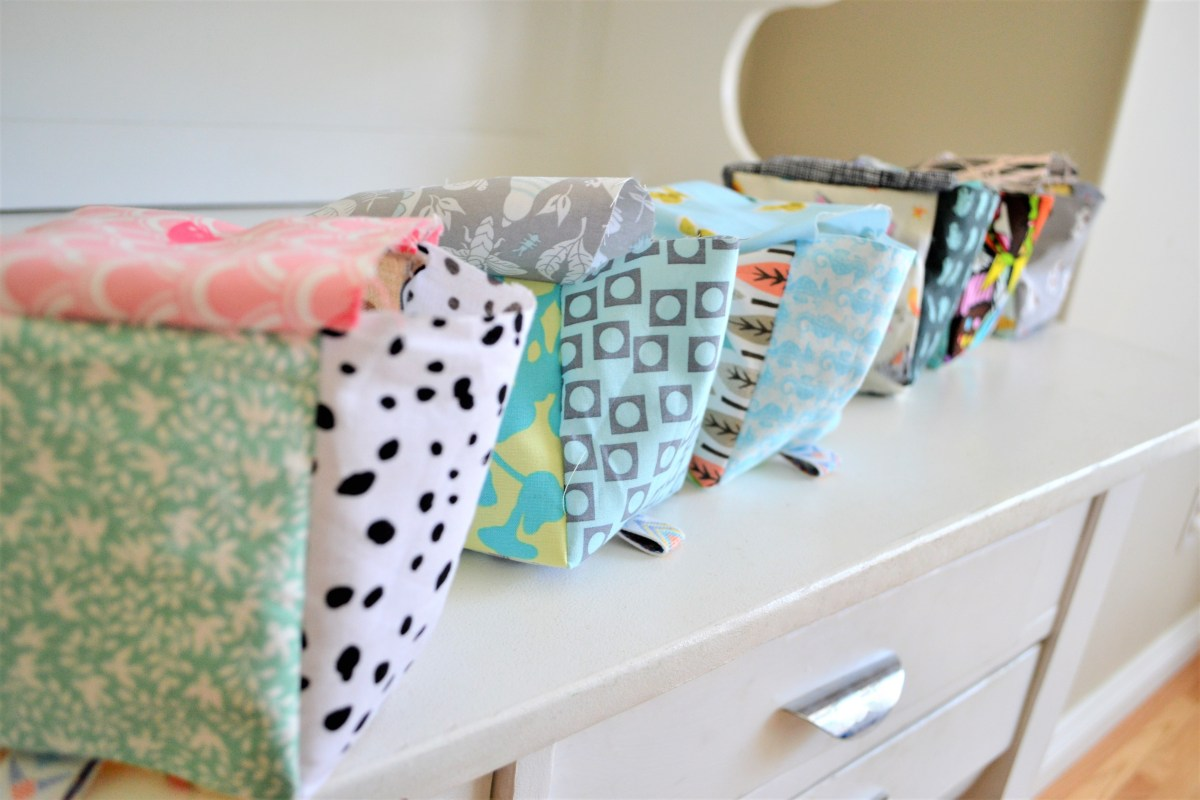 How to Sew Baby Blocks With Taggies! - half way finished blocks