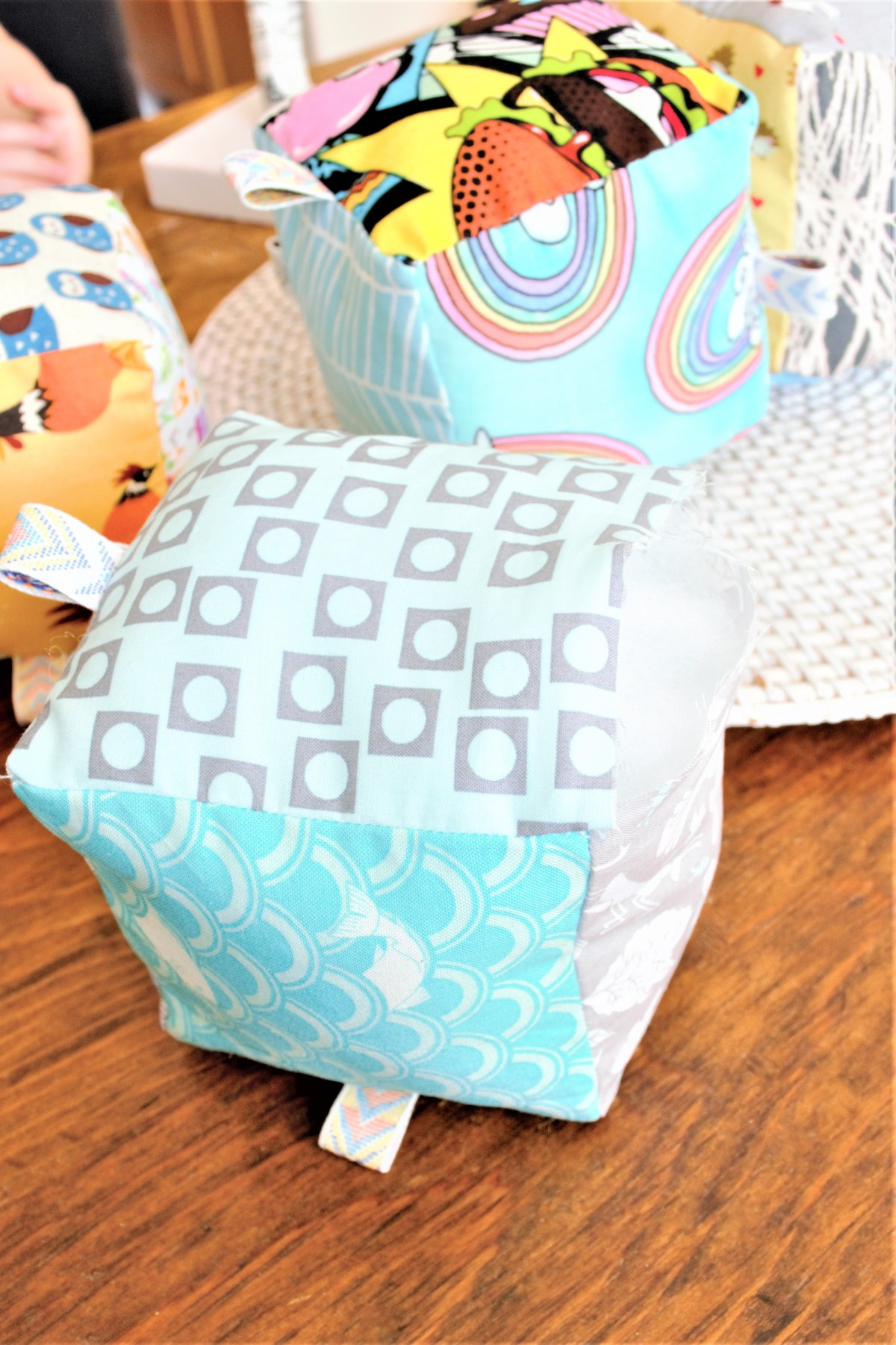 How to Sew Baby Blocks With Taggies! - stuff with fiber fill