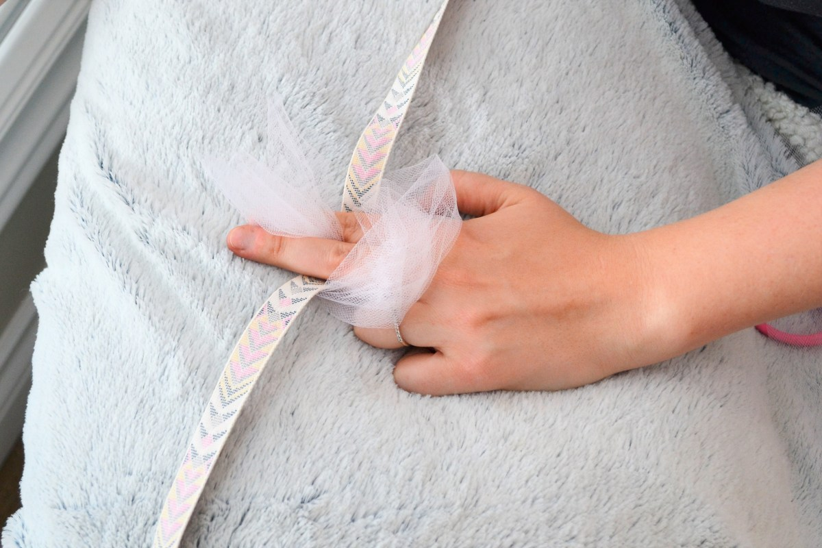 How to Make a Tutu - pull tulle through the hole