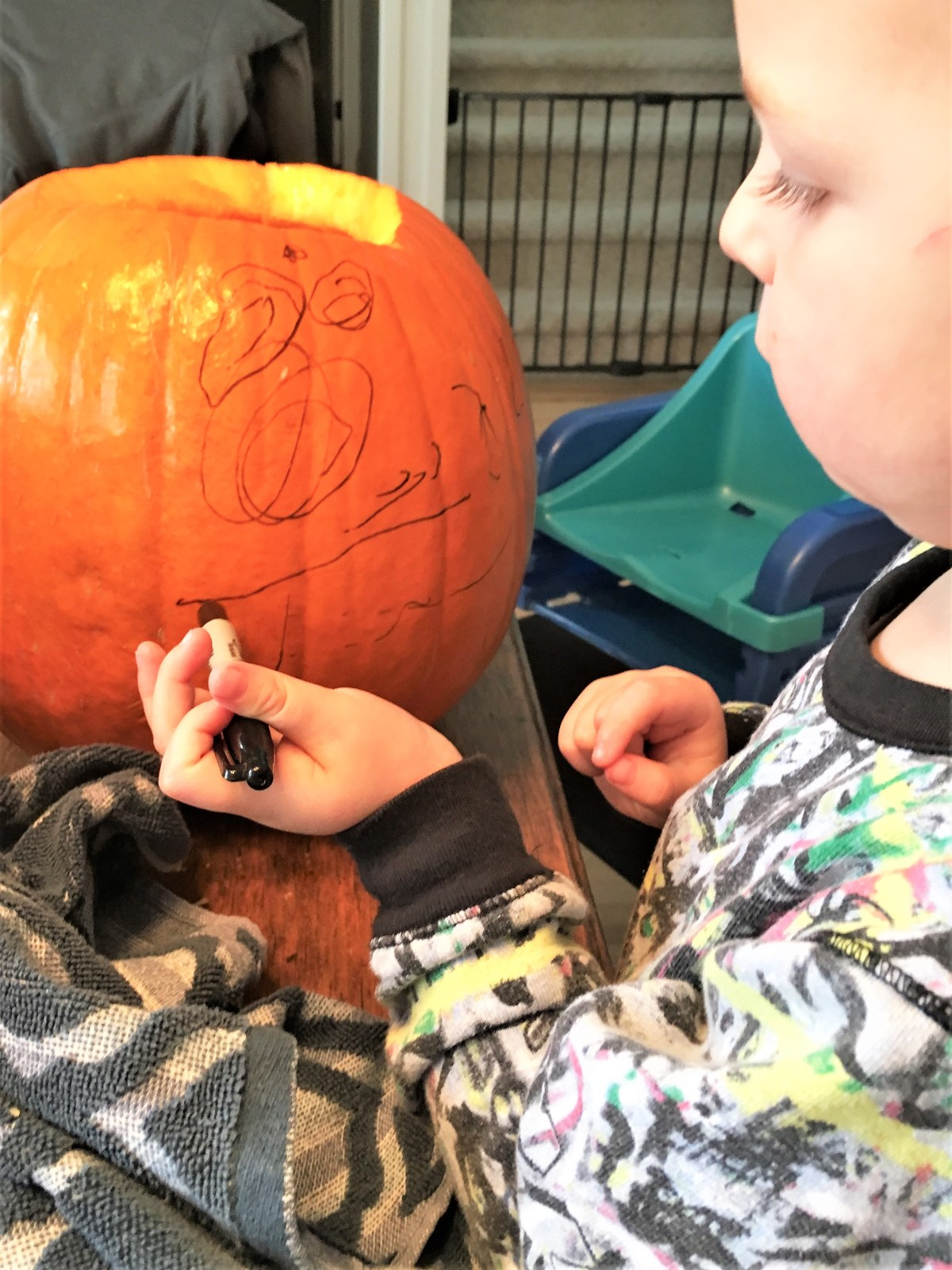 Halloween Traditions with the Kiddos - pumpkin sharpy