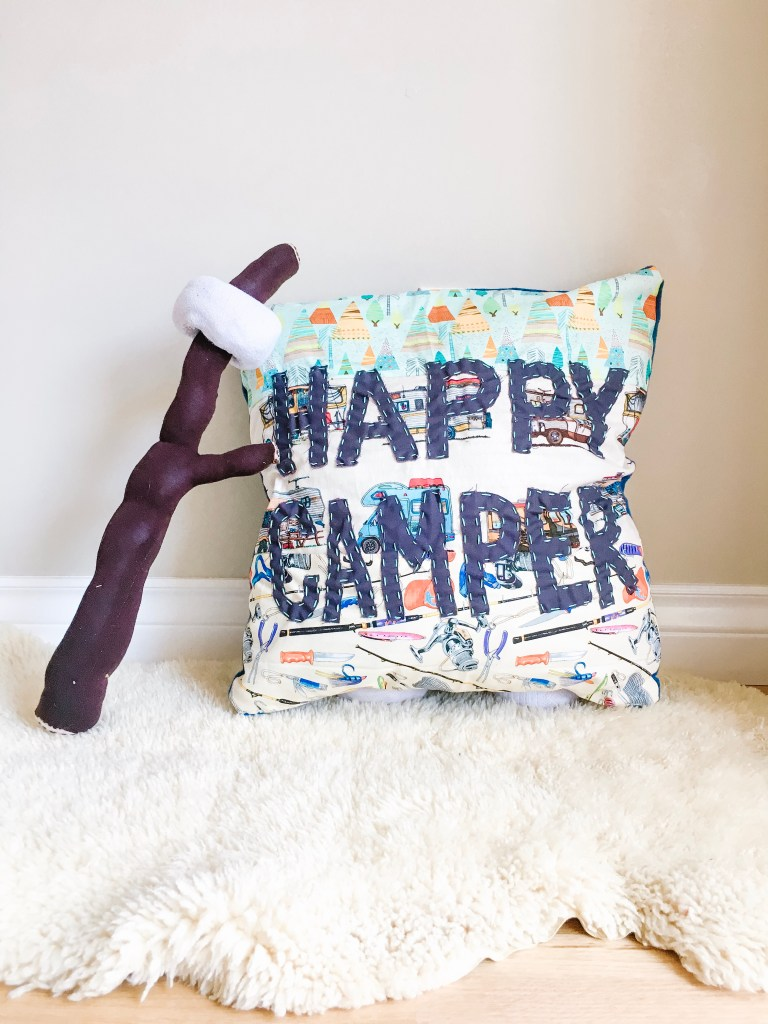 Happy Camper Throw Pillow - Sewing Project For Your RV