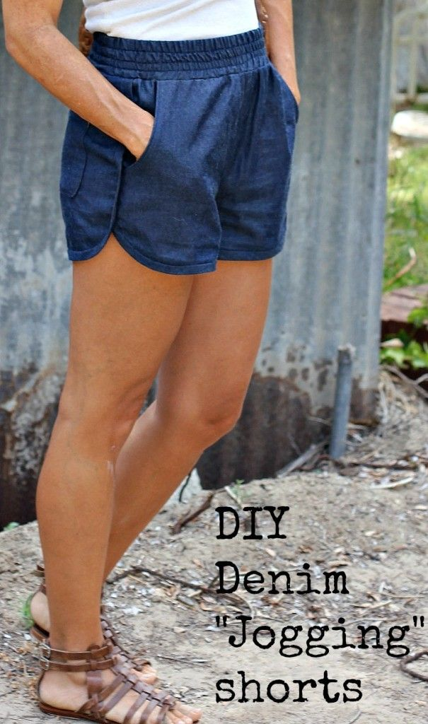 10 Free Woman's Casual Shorts Sewing Patterns: Round-up! - DIY Denim Jogging Shorts - from Sew Country Chick