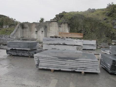 Cut slabs of limestone