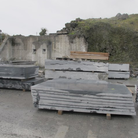 Cut slabs of limestone