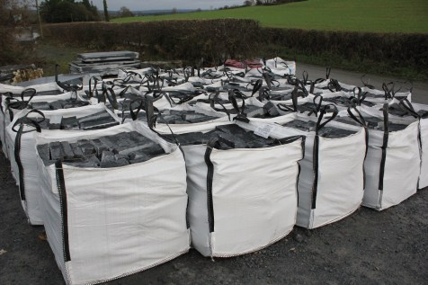 Cut and bagged limestone