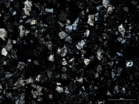 Thin section (xpl) of Mansfield Sandstone