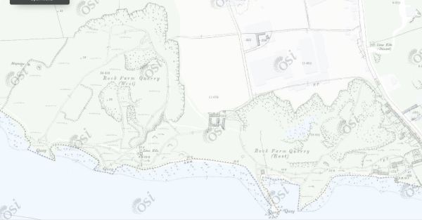 Little Isalnd, Rock Farm red marble quarry (zoomed in)_Historic Map 25inch OSI Map (1888-1913)