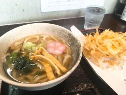 新井製麺のかけうどん500円と野菜かき揚げ150円