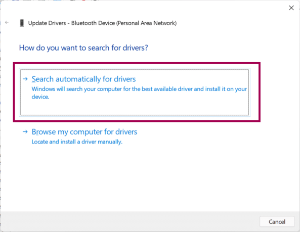 update drivers by automatically searching