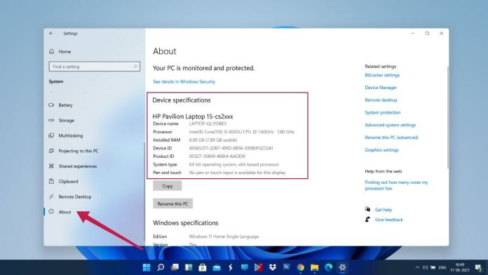 windows 11 specifications