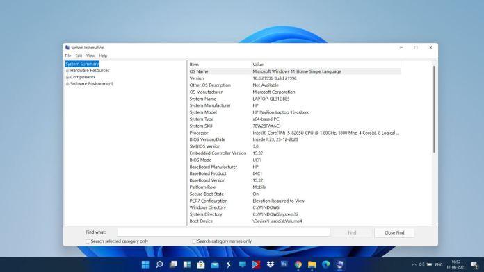 windows 11 system information