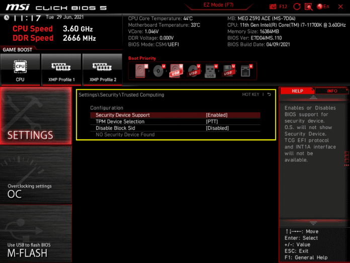 How to Enable TPM in BIOS MSI