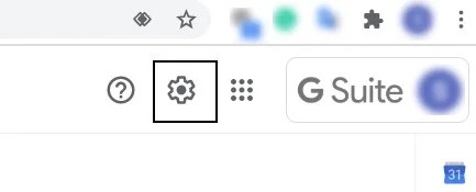 Cog icon in Gmail