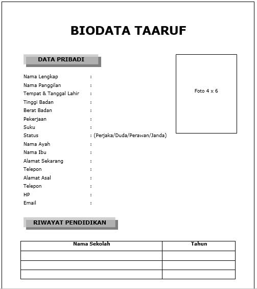 biodata taaruf