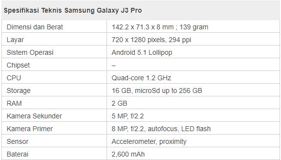 spesifikasi samsung galaxy j3 pro