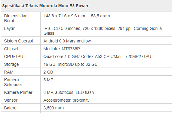 spesifikasi hp motorola E3 Power