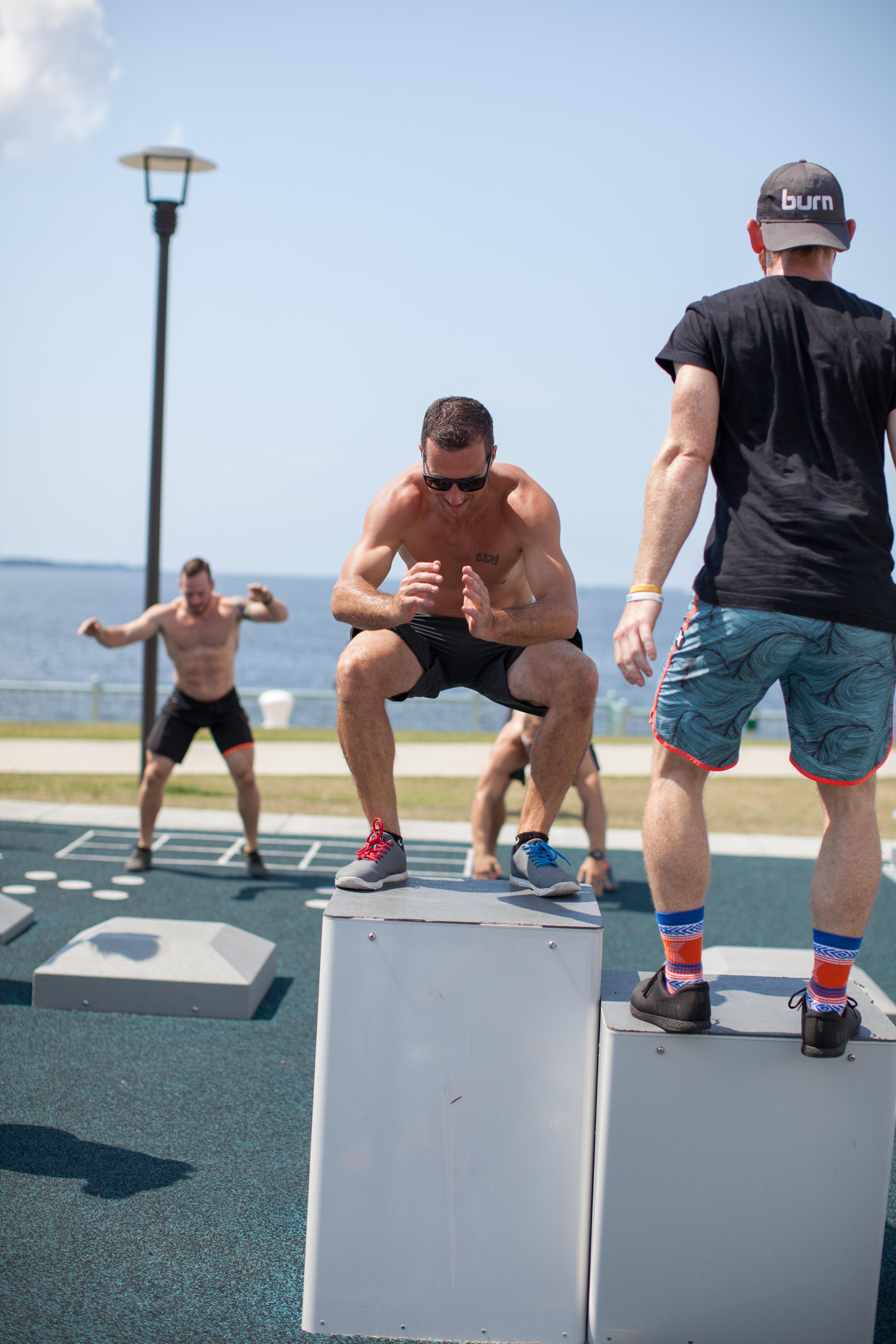 fitness court athlete box jumps