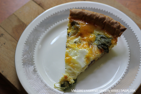 Spinach Mushroom Onion Quiche recipe