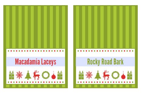 Holiday cookie party tags