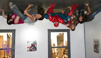 Hanging upsidedown with SpiderMan