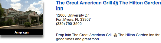 The Great American Grill At The Hilton Garden Inn
