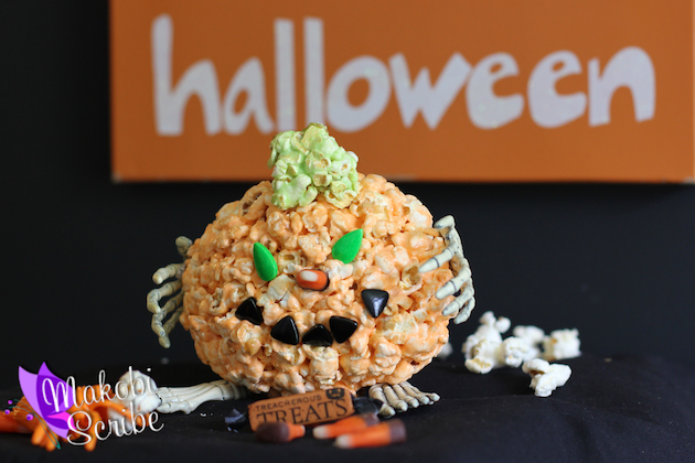 Trick Or Treat Halloween Jello Pumpkin Popcorn Balls Recipe #goodcookcom