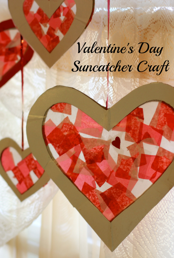 Easy Valentine's Day Craft For Kids – Tissue Paper Heart Suncatcher