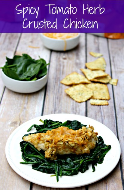 spicy tomato herb crusted chicken pin image