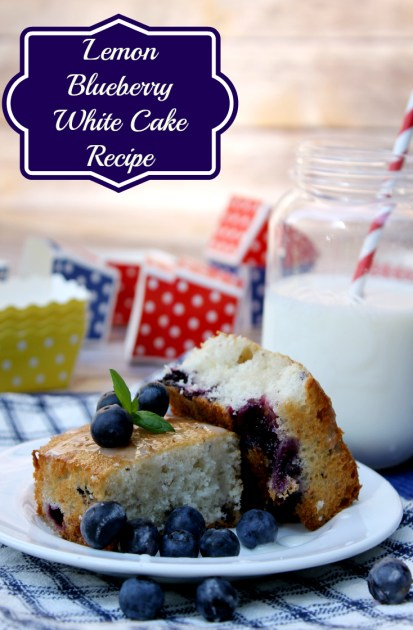 Lemon Blueberry White Cake Recipe pin