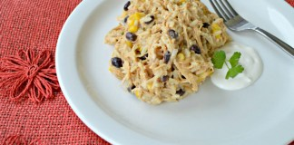 cheesy crockpot fiesta chicken and rice