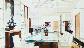 An artist's simple sketch of an interior design of a dining room