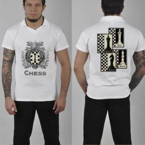 6d089d78 Chess Polo Blue PBCH05 with incredible Chess print Rook