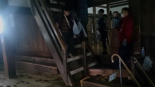 彦根城の天守内最初の昇り階段