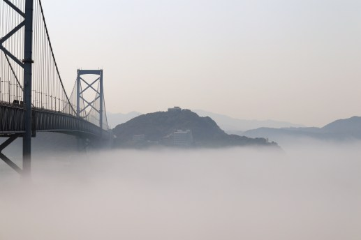 道の駅うずしお40の濃霧の中の徳島県側