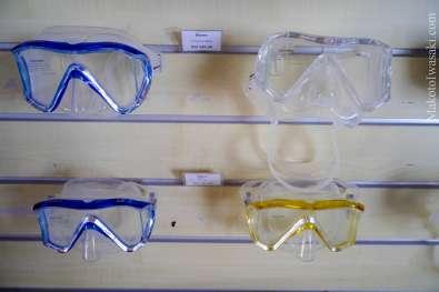 ダイブショップでは本格的なマスクが売っている。値段も日本で売っている値段より安め。