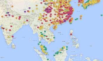 大気清濁度の比較地図