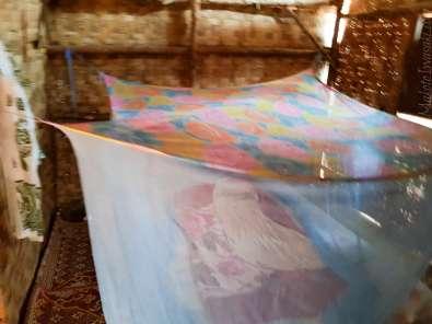 蚊帳あり。ベッドシートはやはり薄汚い感じ。