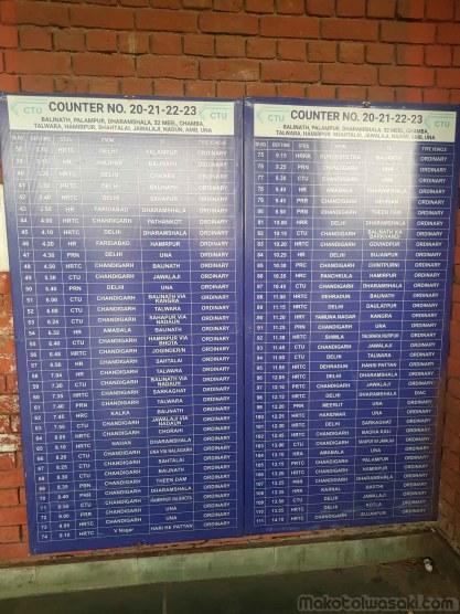 CHANDIGARH バス時刻表