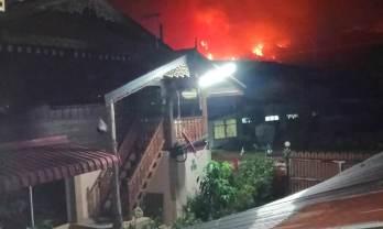 知人宅からの山火事風景