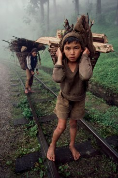 Steve McCurry, Bangladesh, 1983, BANGLADESH-10014. Young boys carry wood. Retouched_Ashley Crabill 05/28/2013