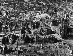 Aerial view of bomb-damaged buildings after an Allied air attack on the devastated city.