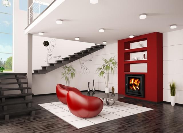 Яркий дизайн для зала с встроенным камином Profi