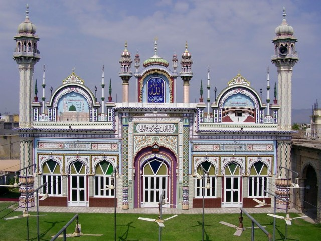 The beautiful mosque at the shrine, established by Qazi Muhammad Sadruddin
