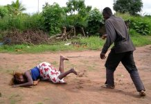 man beating wife in Harare
