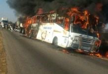 Proliner Bus from Joburg to Harare Catches Fire near Chivhu - Pictures