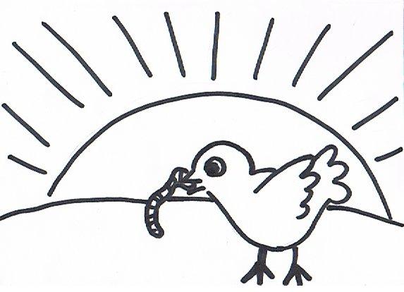 """Ein Bilderrätsel zu dem Sprichwort: """"Der frühe Vogel fängt den Wurm"""""""