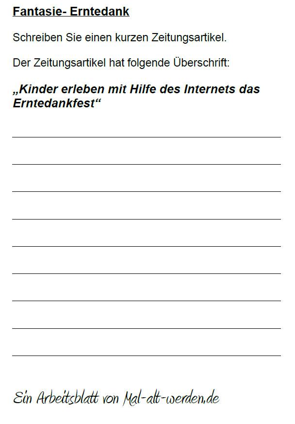 """Arbeitsblatt- """"Fantasie"""" zum Thema Erntedank"""