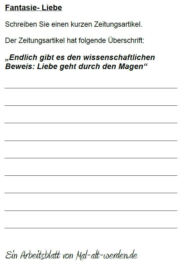 """Arbeitsblatt- """"Fantasie"""" zum Thema Liebe"""